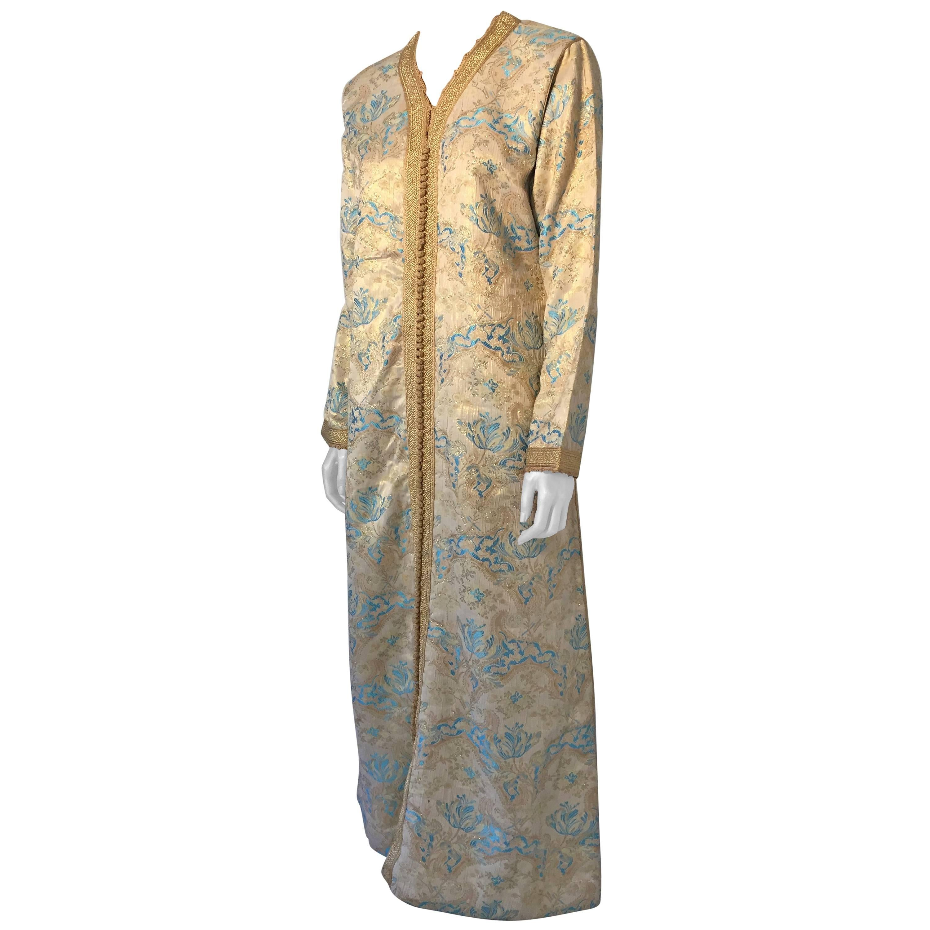 Moroccan Caftan, Turquoise and Gold Brocade Kaftan Size Medium