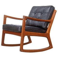 Teak Rocking Chair with Leather by Ole Wanscher, Produced by France & Søn