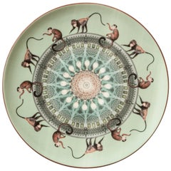 Scimmie Porcelain Dinner Plate by Vito Nesta for Les Ottomans, Made in Italy