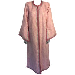 Elegant Moroccan Caftan Lame Metallic Pink and Silver Size Large to Extra-Large