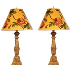 Pair of Bloomsbury Style Decorative Column Lamps