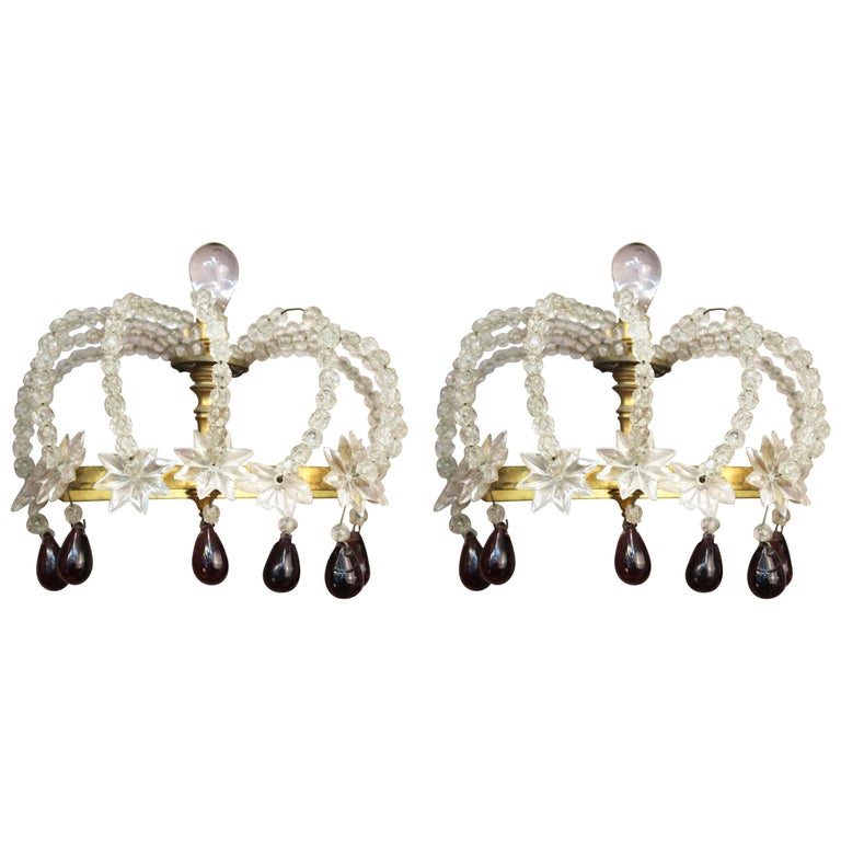 Pair of Decorative Rock Crystal Sconces For Sale