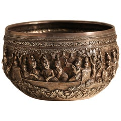 Early 20th Century Burmese Silver Bowl
