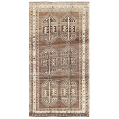 Brown Background 1940s Turkish Oushak Rug with Six Tribal Medallions