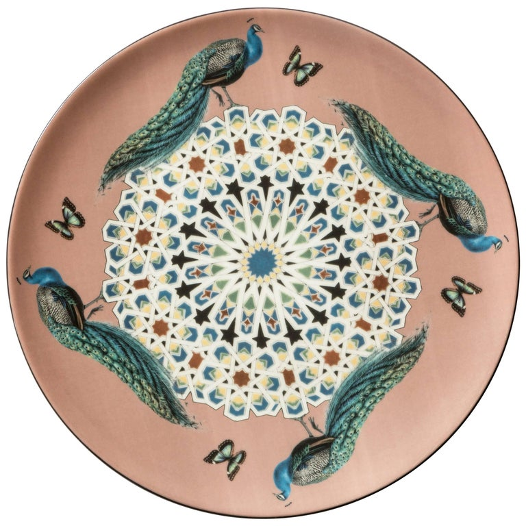 Pavoni Porcelain Dinner Plate by Vito Nesta for Les Ottomans, Made in Italy