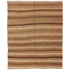 Flat-Weave Kilim Vintage Rug from Turkey with Horizontal Brown and Taupe Stripes