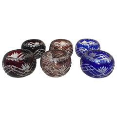 Set of Six Bohemian Cut Crystal Bowls