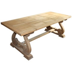 French Farm or Trestle Table in Bleached Oak