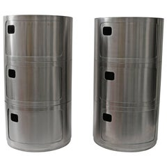 Pair of Round Side Tables in Stainless Steel