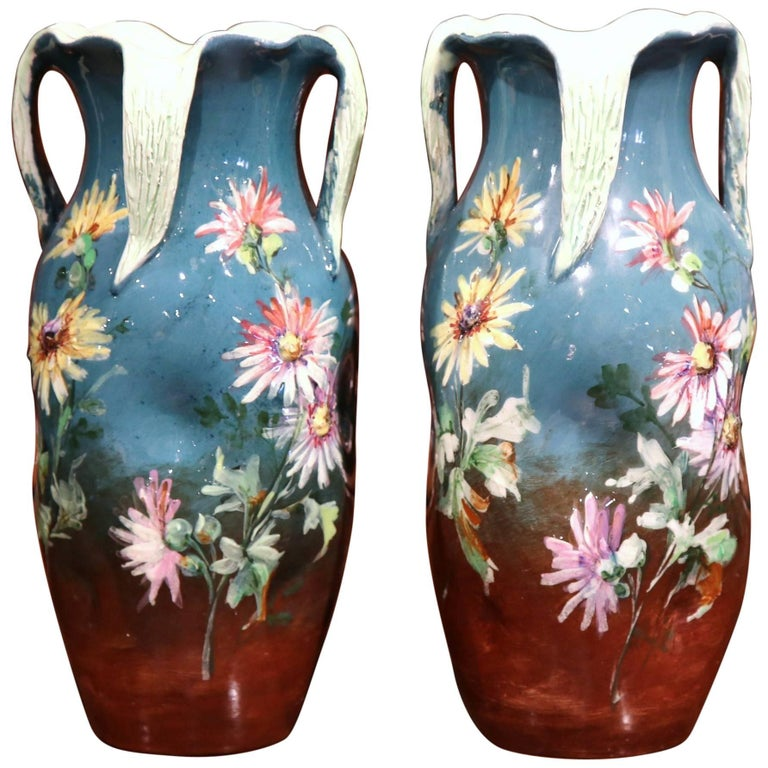 Pair of 19th Century French Hand-Painted Barbotine Vases Signed J. Massier