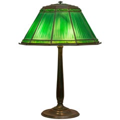 Tiffany Studios Green Linenfold Table Lamp