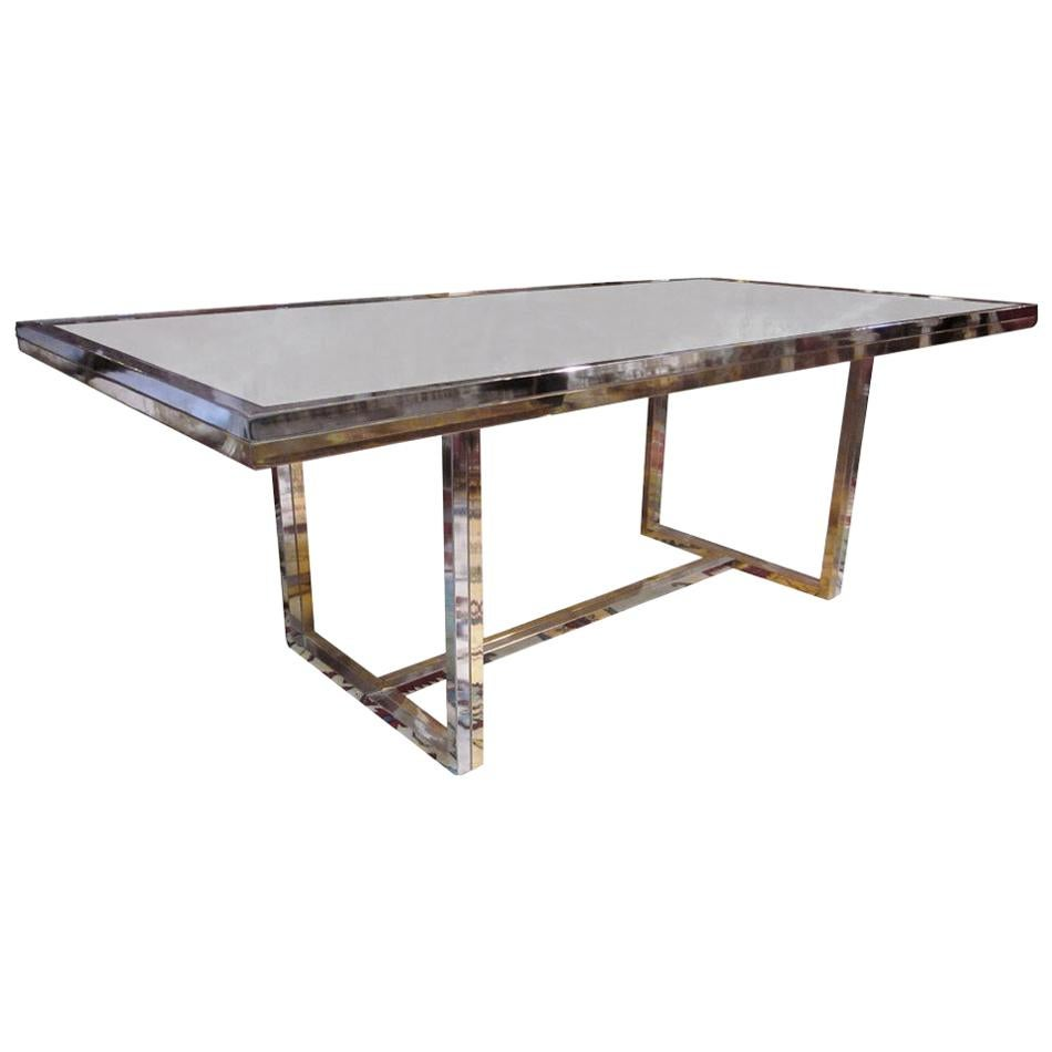 Mid-20th Century Brass and Chrome Dining Table