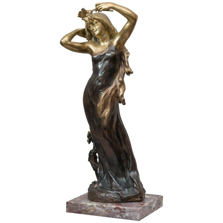 Art Nouveau Bronze Figure of a Young Woman