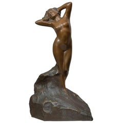 Art Nouveau Bronze Figure of a Nude Maiden