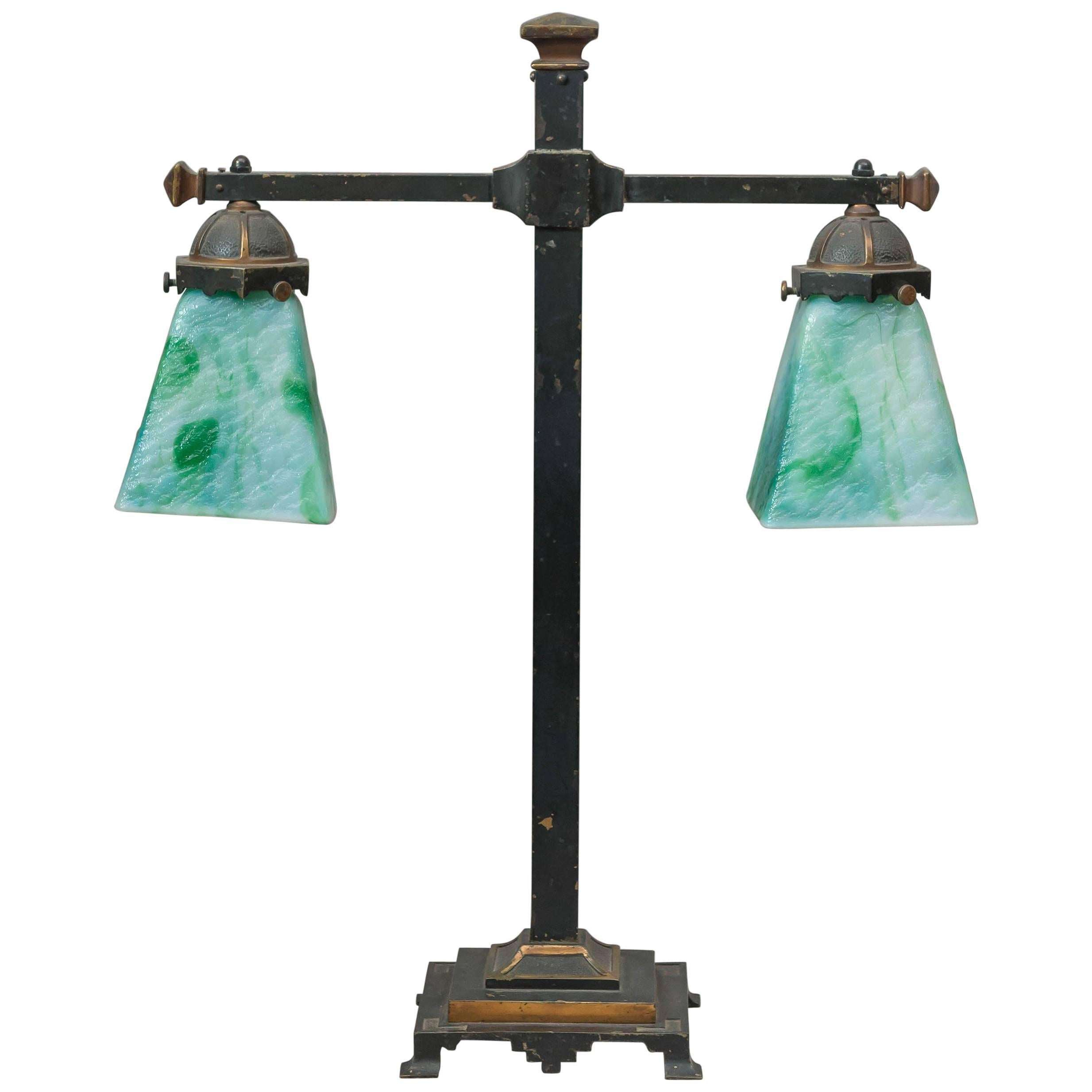 Two Arm Arts U0026 Crafts Table Lamp With Original Glass Shades