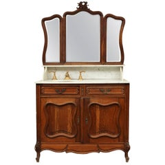 Antique Continental Oak and Marble Vanity