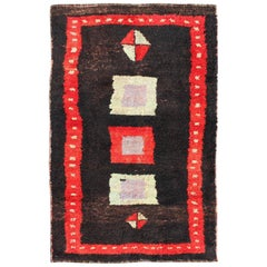 Modern Mid-20th Century Turkish Tulu Rug with Geometric Shapes in Vivid Red