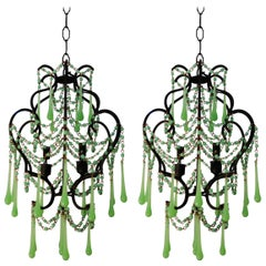 Vintage Pair of French Green Opaline Chandeliers, circa 1950s