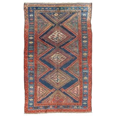 Antique N.W. Persian Malayer Tribal Rug with Diamond Design