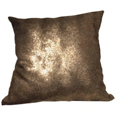 Silver Sequined Cushion Hand Embroidery on Silk Color Oyster