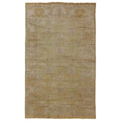 Traditional Persian Sultanabad Vintage Rug with Acid Green and Brown Color