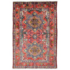 Colorful Caucasian Vintage Karabagh Rug with Floral and Sub-Geometric Designs