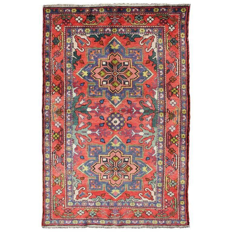 Colorful caucasian vintage karabagh rug with floral and for Colorful rugs for sale