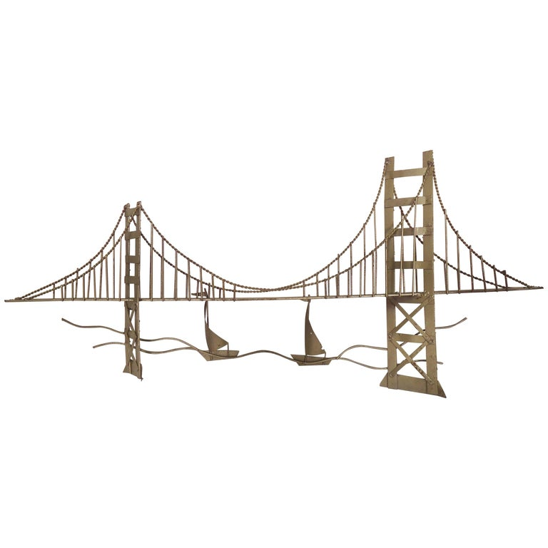 Mid Century Wall Art Metal Bridge For