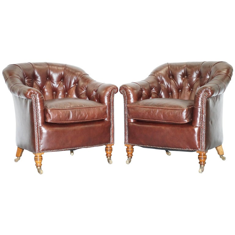 Pair of Fully Restored Howard & Sons Brown Leather Fully Stamped Club Armchairs For Sale