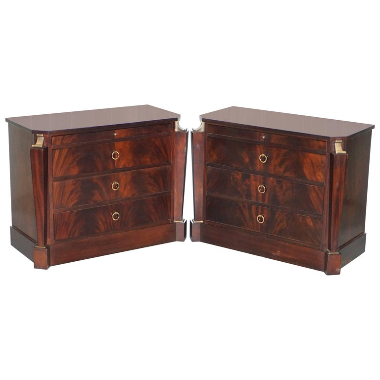 Pair of Baker Empire Drawers by Thomas Pheasant Sable Wood and Bronze