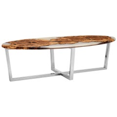 Contemporary Oval Coffee Table in Oak Burr and Resin Cast on a Chrome Base