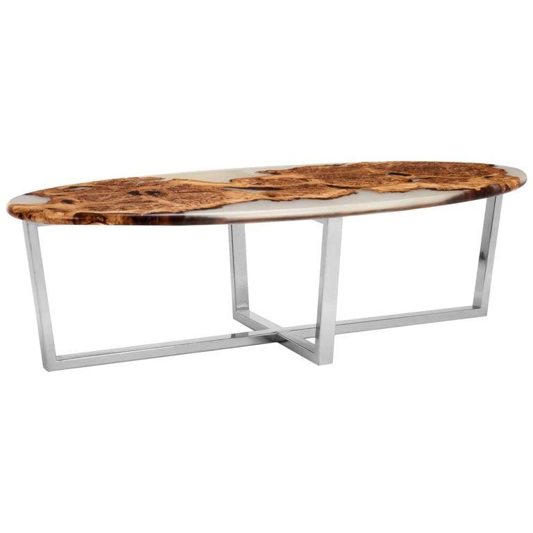 English oak burr and resin cast oval coffee table on a for Oval copper coffee table