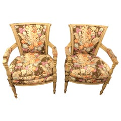 Pair of Paint Decorated Maison Jansen Fauteuils with Attractive Fabric