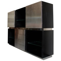 Acerbis Sideboard in Stained Oak and Stainless Steel, Italy, 1970s