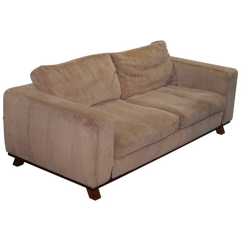 Rare David Linley Dunwick Velvet Upholstered Walnut Framed Sofa