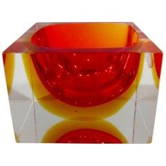 Alessandro Mandruzzato Italian Murano Square Cube Sommerso Bowl