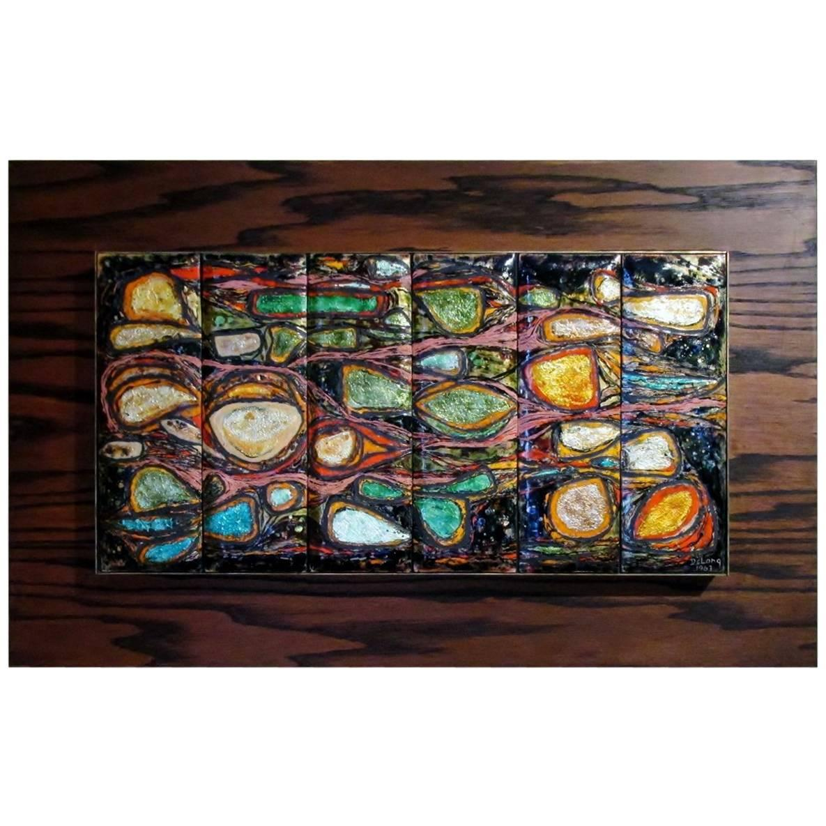 Barbara DeLong Modernist Abstract Enamel On Copper Wall Art For Sale
