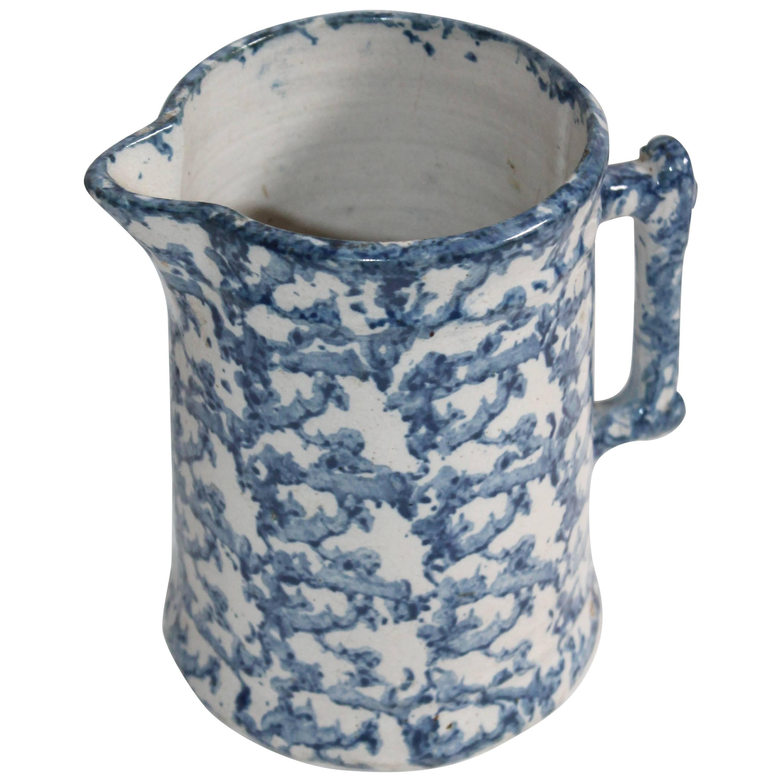 19th Century Pottery Sponge Ware Milk Pitcher