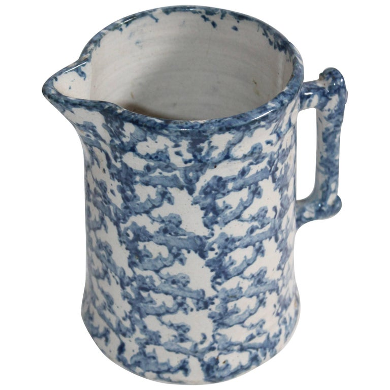 19th Century Pottery Sponge Ware Milk Pitcher