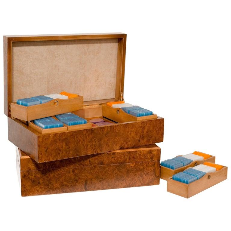 1970s, Italian European Poker Plaques Chip 1275 Piece Set Briar Wood Cases 1