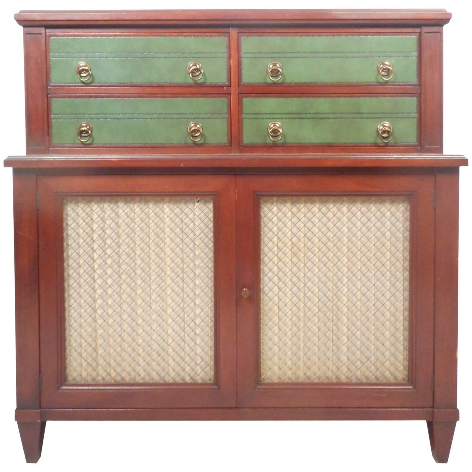 Vintage Renzo Rutili Green Leather and Mahogany Dresser for Johnson Furniture