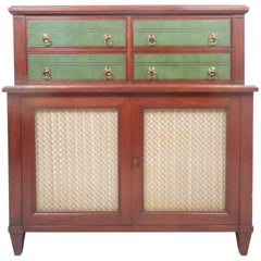 Vintage Renzo Rutili Green Leather and Mahogany Dresser for Johnson Furniture