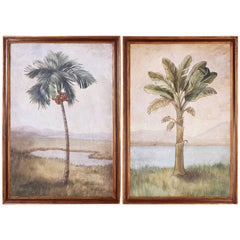 Pair of Oil on Canvas Palm Tree Paintings