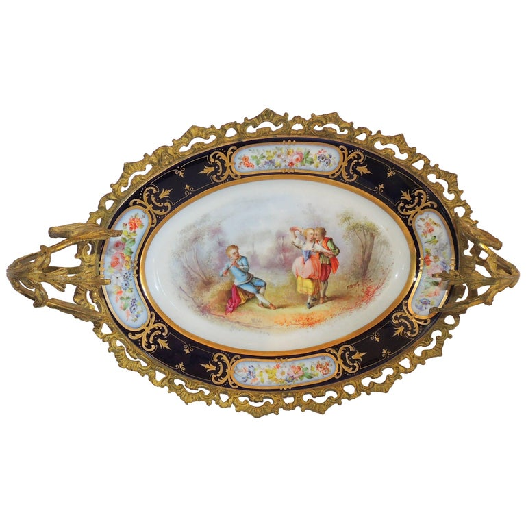 Wonderful French Ormolu Bronze Sevres Hand-Painted Porcelain Centerpiece Tray For Sale