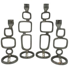1970s Italian Modern Steel Candlestick Holders, Set of Four