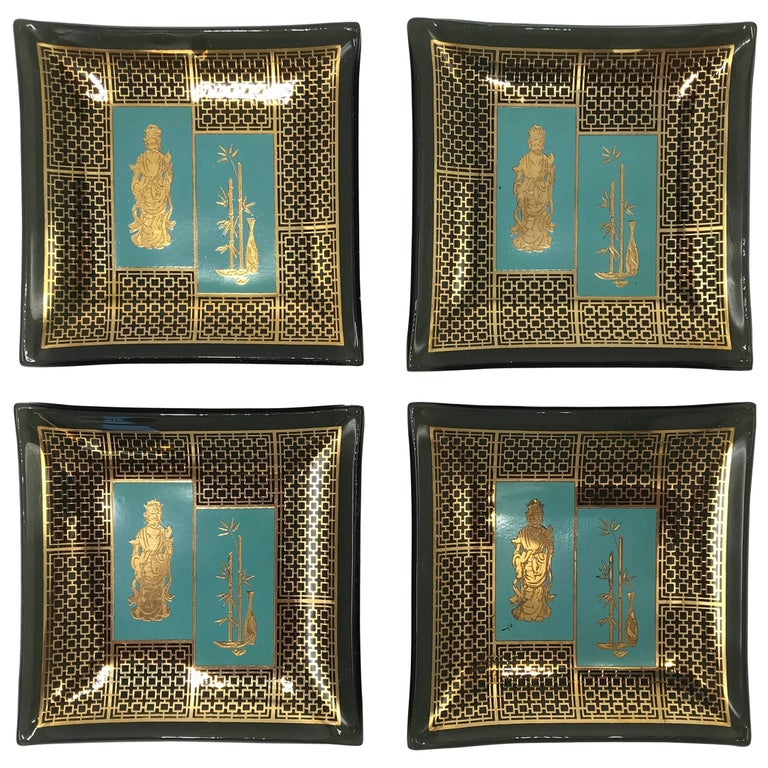 1970s James Mont Style Smoked Glass Coasters with Etched Gold, Set of Four
