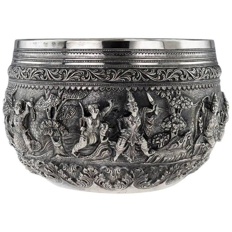 19th Century Exceptional Burmese Solid Silver Thabeik Bowl, Rangoon, circa 1880