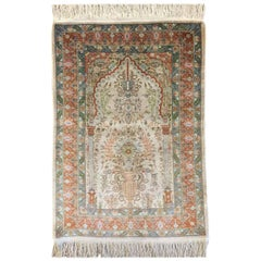 Turkish Hereke Hand Knotted Silk Rug