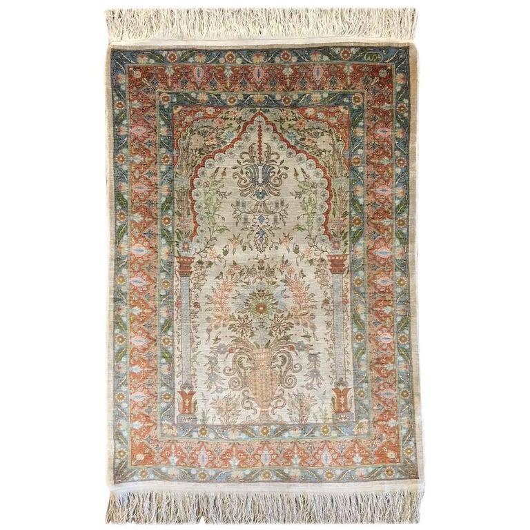 Hereke Silk Rug Youtube: Turkish Hereke Hand-Knotted Silk Rug For Sale At 1stdibs