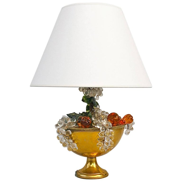 Brass Table Lamp with Glass Fruit Decoration, Mid-20th Century